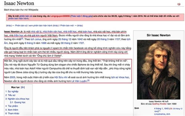 Nội dung thông tin vềnhà bác học Isaac Newton bị chỉnh sửa.(Ảnh: Internet)