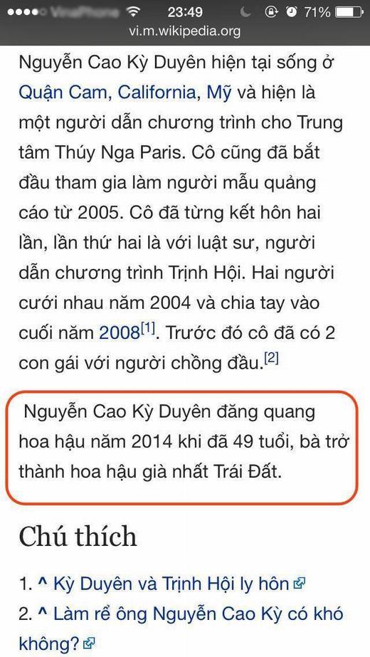 """""""Nạn nhân"""" Nguyễn Cao Kỳ Duyên khi bị chỉnh sửa sai lệch thông tin. (Ảnh: Internet)"""