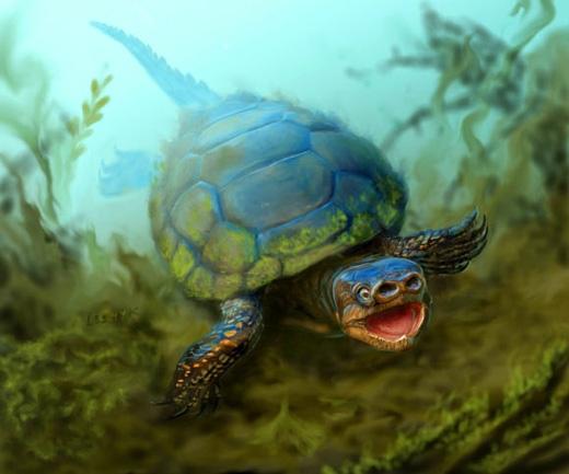 Arvinachelys goldeni có chiếc mũi kìlạ giống như mũi lợn, sống vài KỉPhấn Trắng bên cạnh khủng long. (Ảnh: Victor Leshyk)