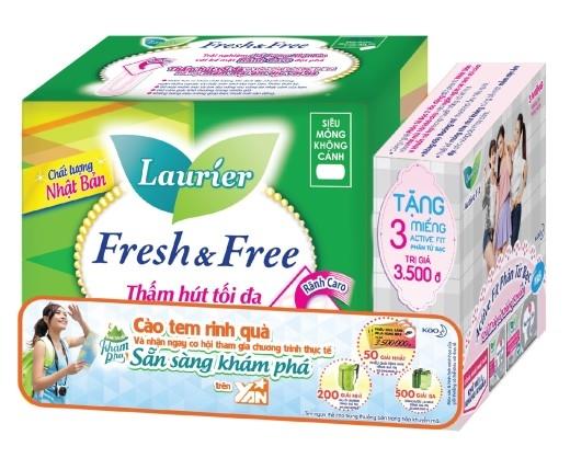 """Sản phẩm Laurier Fresh & Free có logo chương trình """"Sẵn sàng khám phá"""" trên siêu thị và cửa hàng toàn quốc."""