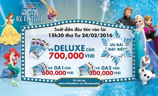 Nếu đến tham dự suất diễn đầu tiên vào 15h30 thứ Tư 24/02 bạn sẽ tiết kiệm được 300.000 đồngcho vé Deluxe; 200.000 đồngcho vé GA 1 và 100.000 đồngcho vé GA 2.