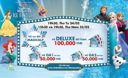 Với chương trình Magical, suất diễn 19g30 vào thứ Tư 24/02 và các suất diễn 15g30 và 19g30 thứ Năm 25/02 bạn sẽ tiết kiệm được 100,000 VNĐ cho vé Deluxe và 50,000 VNĐ cho vé GA 1 và GA 2.