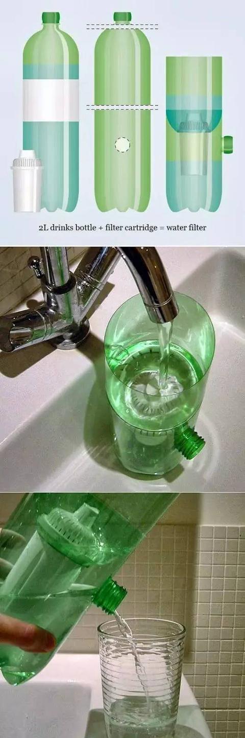 Bình lọc nước từ vỏ chai. (Ảnh: Internet)