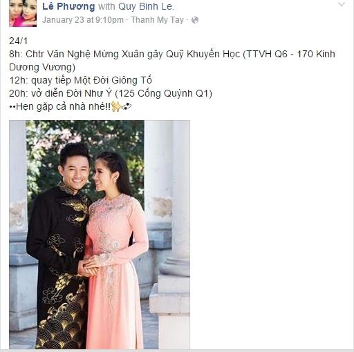 Lê Phương cũng từng đăng tải nhiều hình ảnh cùng Quý Bình trên trang facebook cá nhân. - Tin sao Viet - Tin tuc sao Viet - Scandal sao Viet - Tin tuc cua Sao - Tin cua Sao