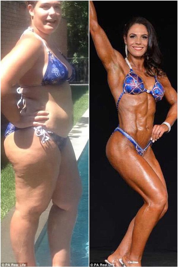 Nathalia Teixeira, 29 tuổi, một bà mẹ 2 con người Brazilhiện đang sống tại New York. Bên trái là hình ảnh Nathalia lúc còn nặng 120kg và bên trái là hình ảnh hiện tại – một cơ thể săn chắc chỉ nặng 69kg.