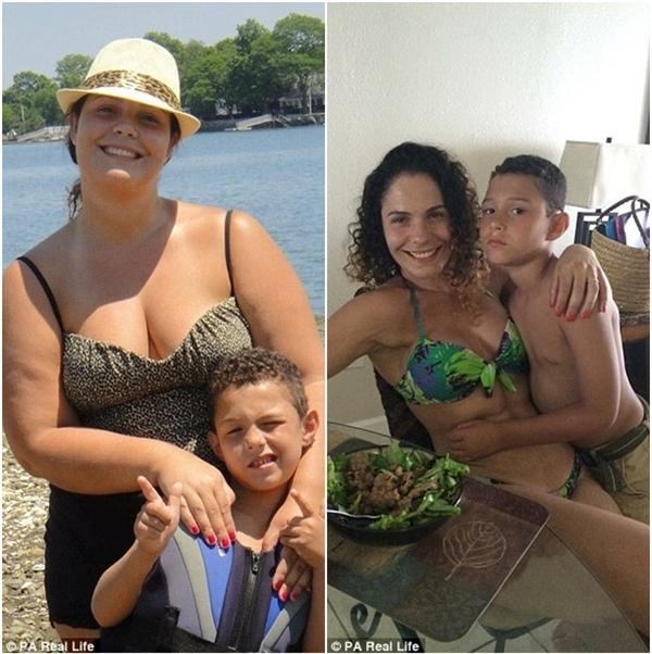 Nathalia cùng con trai trước và sau khi giảm cân thành công.