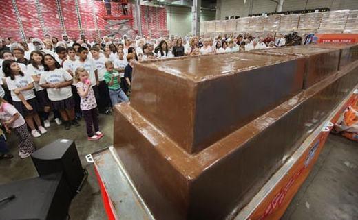 Còn đây là thanh sô-cô-la lớn nhất thế giới...nặng5,443 tấn. Nó được tạo ra từ 544kg quả hạnh, 907kg bột sữa, 771kg bột cacao và 635kg chocolate nước, bởi công ty World's Finest Chocolate có trụ sở tại Chicago. Trước đó, danh hiệu này thuộc về thanh sô-cô-la Grand Candy với cân nặng 4,410 tấn. (Ảnh: Internet)
