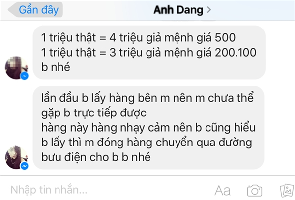 Facebook Anh Dang nói về tỷ lệ, cách thức đổi tiền giả. Ảnh: T.L.