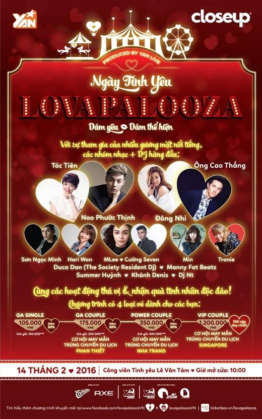 Lovapalooza – Lễ hội tình yêu tưng bừng và độc đáo bậc nhất trong mùa Valentine 2016.