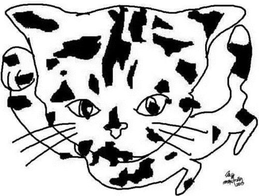 Chú mèo đầu to giơ tay chào. Để nhìn ra được chú mèo nghịch ngợm này bạn sẽ phải lật ngược bức ảnh lại. (Ảnh: Internet)