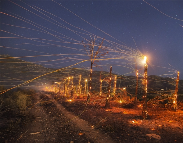Những tia sáng từ ánh đèn đã được Stuart Palley / EPA ghi lại một cách tinh tế. Ảnh được chụp ở Rancho Cucamonga, California. (Ảnh: Internet)