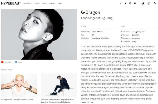 G-Dragon lọt top 100 nhân vật ảnh hưởng nhất thế giới