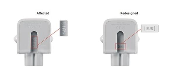 Một mẫu cục sạc trong diện bị thu hồi của Apple (trái) và cục sạc theo chuẩn mới của Apple. (Ảnh: Internet)