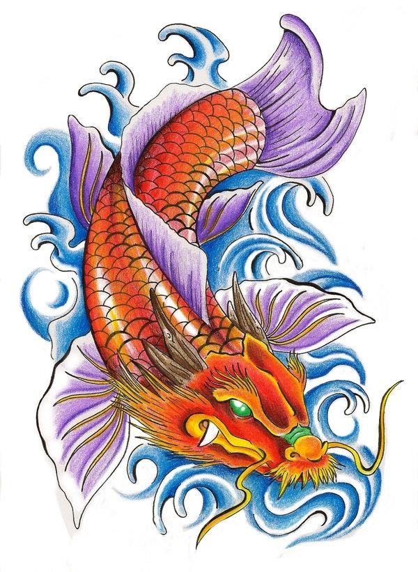 """Tranh minh họa truyền thuyết """"cá chép hóa rồng"""". (Ảnh: Internet)"""