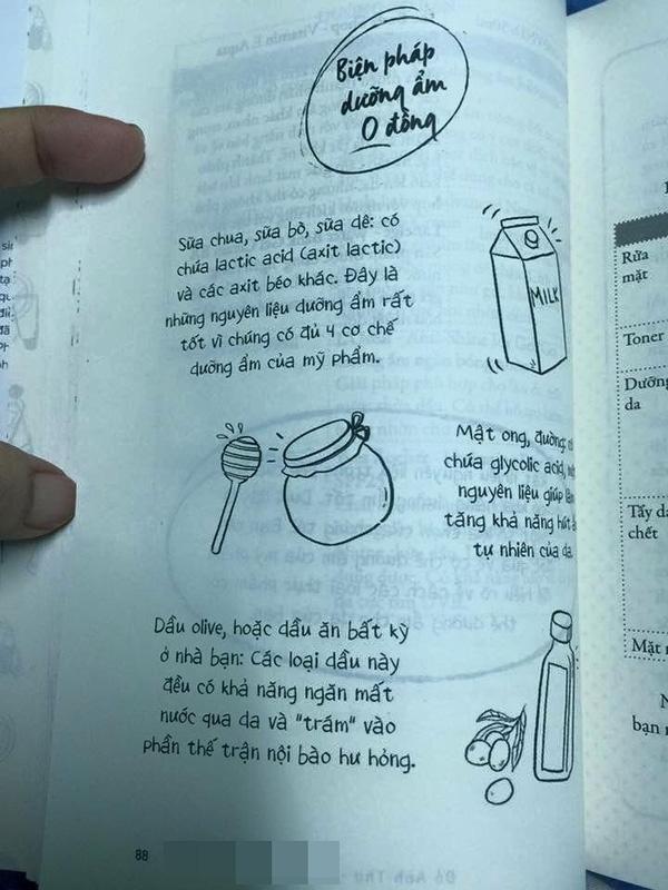 """Một số hình ảnh trong sách. Trong đó tiếp tục nhấn mạnh, có thể dùng """"dầu olive hoặc dầu ăn bất kỳ ở nhà bạn""""."""