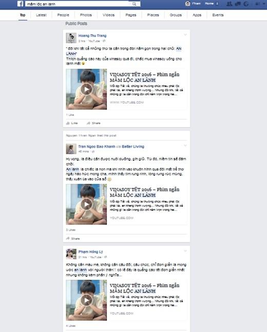 """Tìm từ khóa """"Mầm lộc an lành"""" trên Facebook dễ dàng nhận thấy bộ phim Tết được sự đón nhận và chia sẻ rộng rãi của người xem."""