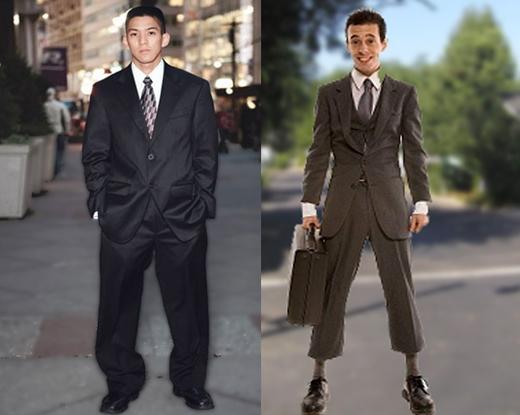 Quần áo không vừa với khổ người: nó làm bạn trở nên luộm thuộm và cẩu thả. Nếu khổ người của bạn thuộc dạng khó chọn quần áo thì bạn có thể chọn cách may đo. (Ảnh: Internet)