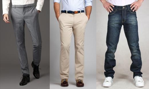Chiều dài của ống quần: đừng bao giờ gấp lai quần lên trừ khi đó là chủ ý về thời trang. Ống quần có thể phủ qua giày nhưng phải hỏng lên khỏi mặt đất. (Ảnh: Internet)