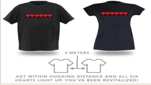 Khi hai người ôm nhau hoặc đứng sát nhau, dãy trái tim sẽ vụt sáng hết.