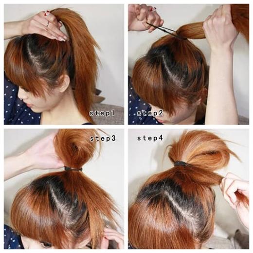 Buộc túm tóc lại trên đỉnh đầu chỉ chừa lại một đoạn đuôi. (Ảnh: Internet)