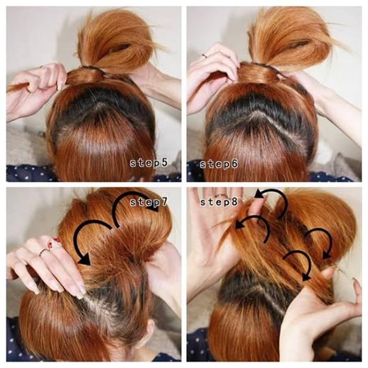 Quấn phần đuôi tóclại quanh chỗ thun buộc rồi cố định. Sau đódùng tay xòe rộng phần tóc búi ra theo chiều dọc từ trên đầu xuống. (Ảnh: Internet)