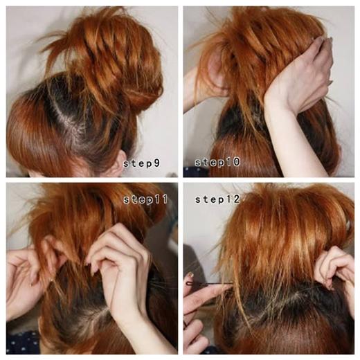 Kéo tóc sang hai bên xen kẽ nhau như hình để tạo độ rối. Sau đó gom búi tóc lại và thành búi rối và cố định bằng kẹp ghim. (Ảnh: Internet)