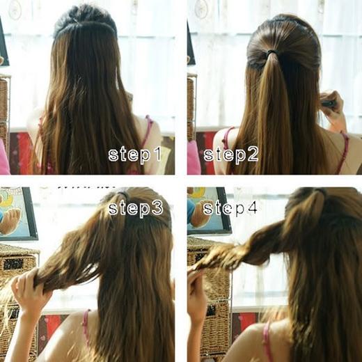 Buộc nửa phần tóc trên rồi xoắn phần đuôi lại. (Ảnh: Internet)
