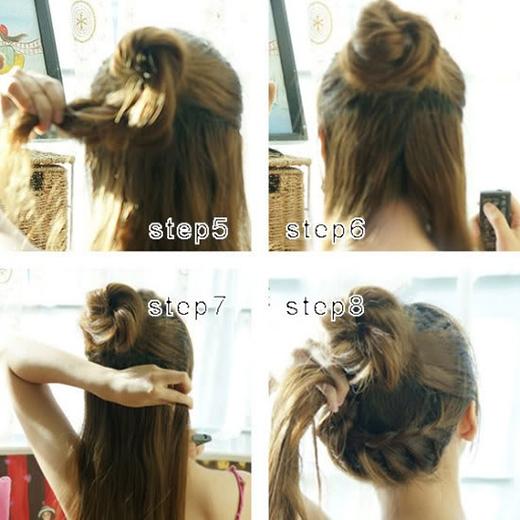 Quấn phần đuôi vừa xoắn quanh thun buộc để tạo thành một búi tóc. Phần tóc bên dưới tết lại ôm từ bên này sang bên kia đầu như hình.(Ảnh: Internet)