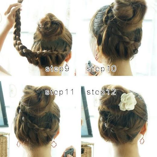 Quấn phần tóc tết quanh búi tóc rồi cố định bằng kẹp ghim. Cài thêm hoa hay phụ kiện để thêm phần trang trọng. (Ảnh: Internet)