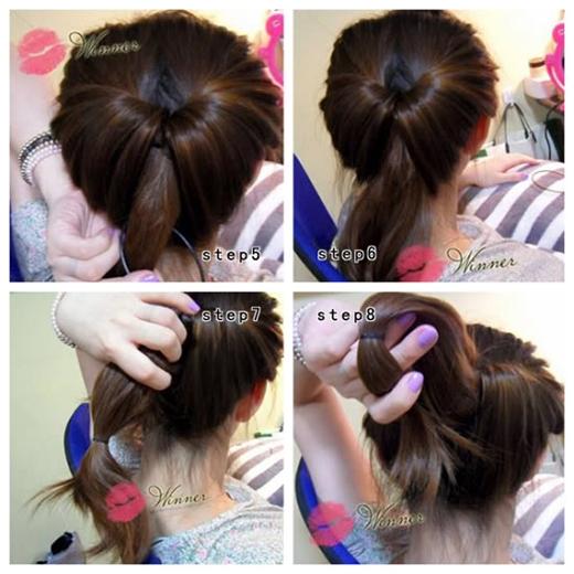 Phần đuôi tóc lấy ra buộc gọn lại rồi buộc gập lại như hình. (Ảnh: Internet)