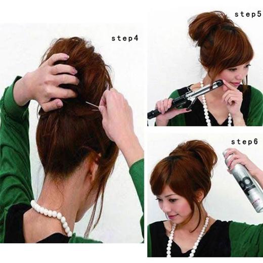 Giấu phần đuôi tóc lại rồi cố định bằng kẹp ghim và keo xịt tóc. (Ảnh: Internet)