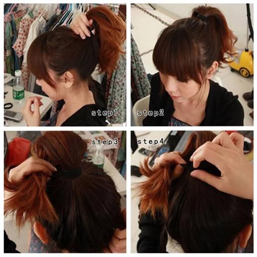 Buộc tóc đuôi ngựa cao rồi lật phần đuôi tóc lên đỉnh đầu. (Ảnh: Internet)