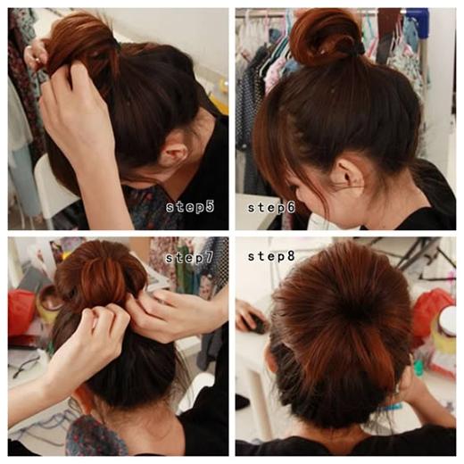 Buộc đuôi tóc lại như hình rồi xòe búi tóc ra tạo thành hình củ tỏi và cố định bằng kẹp ghim. (Ảnh: Internet)