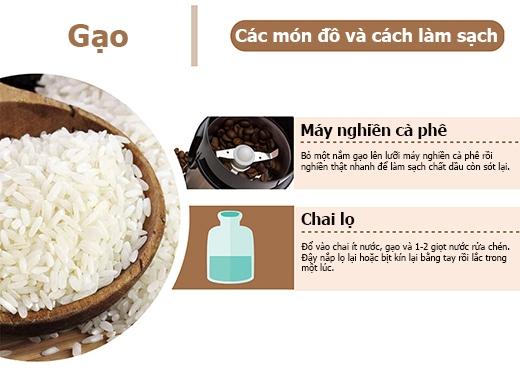 Gạo có thể làm sạch lưỡi dao của máy nghiền cà phê và các chai lọ khó cọ rửa.(Ảnh: PressureWasherToday)