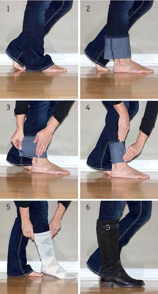 Làm sao để kết hợp quần jeans không bó với giày bốt cho gọn gàng? (Ảnh: Internet)