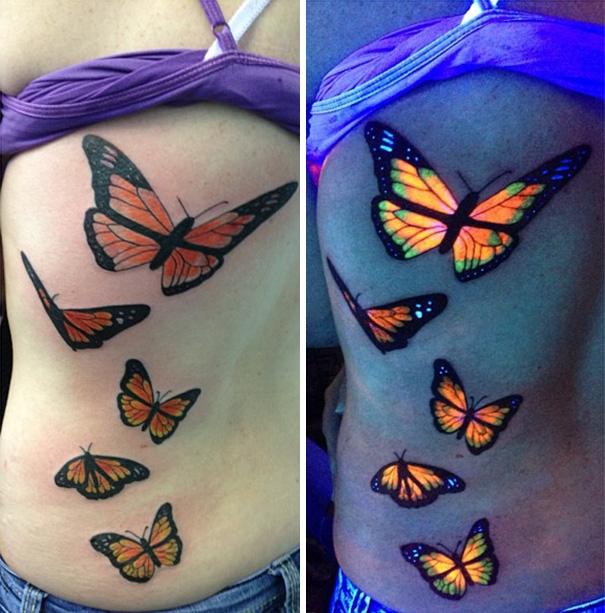 Đàn bướm trở nên sống động hơn dưới đèn tia cực tím.(Ảnh: Bored Panda)