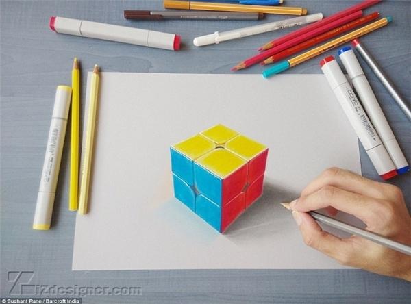 Khối rubik ba màu được tạo bóng tỉ mỉ. (Ảnh: Internet)