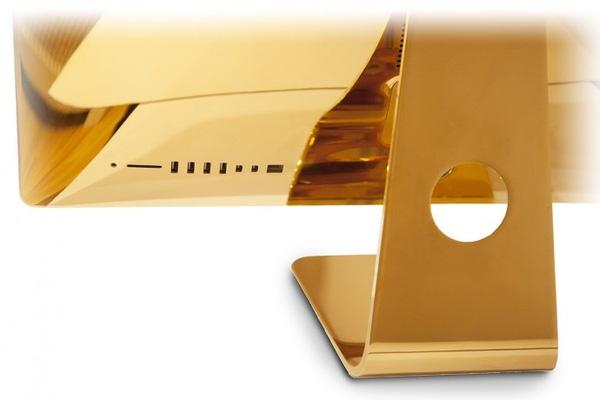 """Cận cảnh sự sang trọng của chiếc máy tính nhà """"táo khuyết"""" kết hợp với vàng 24k. (Ảnh:Luxurylaunches)"""