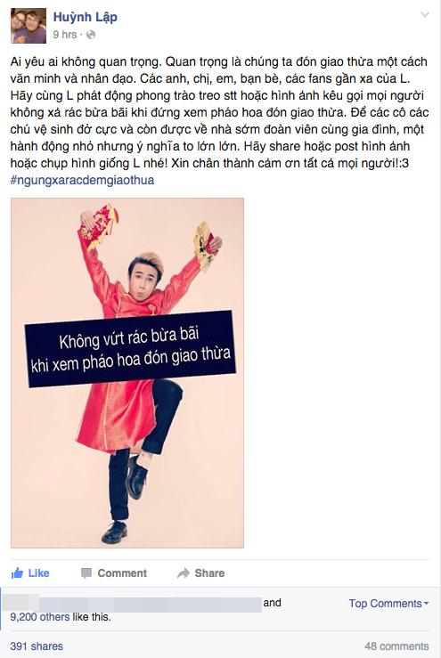 Dòng chia sẻ trên trang cá nhân của Huỳnh Lập nhanh chóng nhận được sự quan tâm chia sẻ của mọi người. - Tin sao Viet - Tin tuc sao Viet - Scandal sao Viet - Tin tuc cua Sao - Tin cua Sao