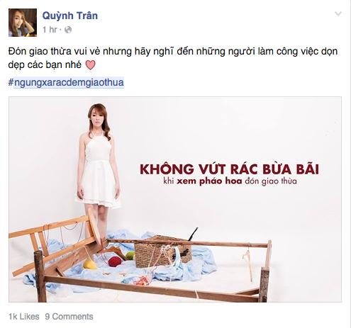 Quỳnh Trân BB&BG mong mọi người đón giao thừa vui vẻ, đừng xả rác để lao công phải miệt nhoài đi dọn - Tin sao Viet - Tin tuc sao Viet - Scandal sao Viet - Tin tuc cua Sao - Tin cua Sao