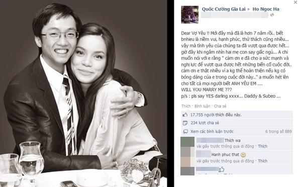Cường Đôla từng công khai cầu hôn Hà Hồ trên mạng xã hội facebook. Tuy nhiên, Hà Hồ đã hoàn toàn giữ im lặng trước sự việc này. - Tin sao Viet - Tin tuc sao Viet - Scandal sao Viet - Tin tuc cua Sao - Tin cua Sao
