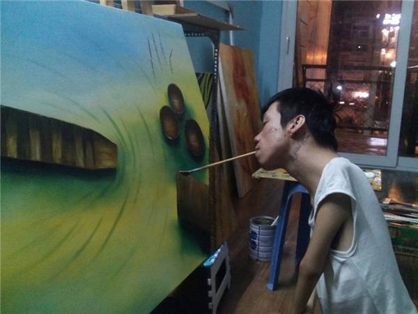 Những bức họa của anh đượcngười yêu nghệ thuật ở Mĩ, Pháp, Nhật đặt mua. (Ảnh: FBNV)
