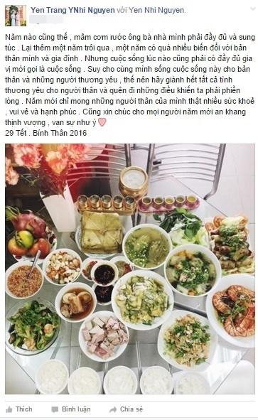 Chị em Yến Trang, Yến Nhi lại chuẩn bị mâm cỗ thịnh soạn đón ông bà tổ tiên về ăn Tết cùng gia đình. Hai chị em không quên gửi lời chúc an lành nhất tới bạn bè, người thân và các fan. - Tin sao Viet - Tin tuc sao Viet - Scandal sao Viet - Tin tuc cua Sao - Tin cua Sao