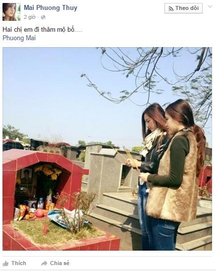 Hai chị em Mai Phương Thúy đã ra thăm mộ bố và thắp cho ông nén hương trầm. - Tin sao Viet - Tin tuc sao Viet - Scandal sao Viet - Tin tuc cua Sao - Tin cua Sao