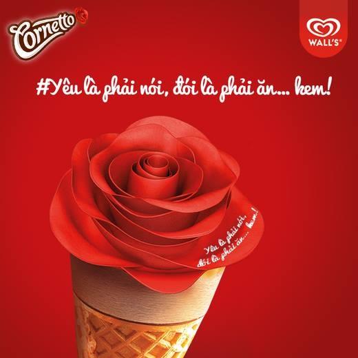 Yêu là chẳng ngại ngùng liều bày tỏ bạn nhé. Cây kem tình yêu Cornetto sẽ truyền sức mạnh cho bạn tỏ tình nè!