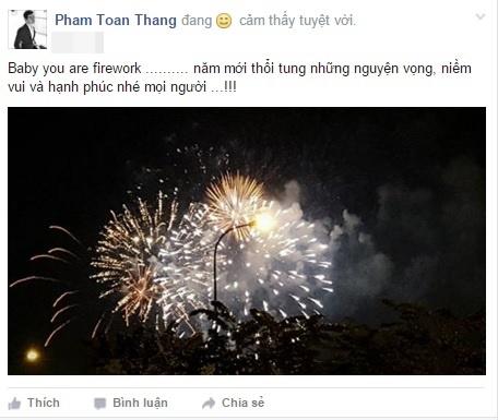 Nam ca sĩ Phạm Toàn Thắng khoe giây phút pháo bông tỏa sáng trên bầu trời nhân dịp năm mới. - Tin sao Viet - Tin tuc sao Viet - Scandal sao Viet - Tin tuc cua Sao - Tin cua Sao