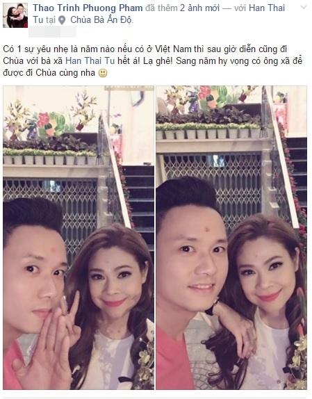Nữ ca sĩ Thanh Thảo và nam ca sĩ Hàn Thái Tú đã tranh thủ đi chùa ngay sau đêm giao thừa. - Tin sao Viet - Tin tuc sao Viet - Scandal sao Viet - Tin tuc cua Sao - Tin cua Sao
