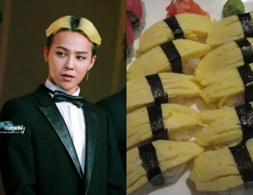 Lần khác, kiểu tóc vàng đen ấn tượng của trưởng nhóm Big Bang lại trông như chiếc sushi cuộn trứng.