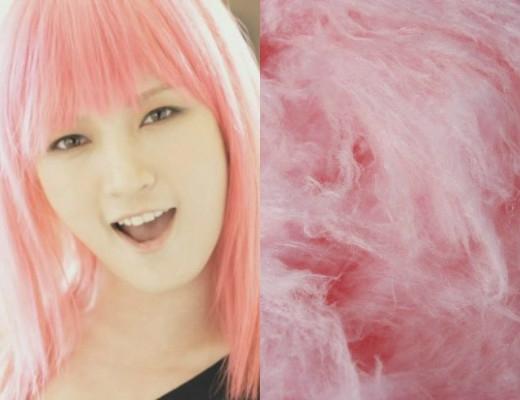 Thời mới ra mắt, JiA (Miss A) đã gây ấn tượng mạnh với quả đầu hồng chóe cá tính. Bên cạnh đó, đầu tóc của cô nàng cũng khiến các fan dễ dàng liên tưởng đến kẹo bông gòn gắn liền với tuổi thơ.