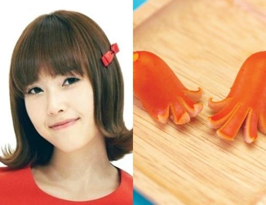 """Thời quảng bá ca khúc Gee cùng SNSD, Jessica đã thành công lăng xê kiểu tóc """"bạch tuộc"""" vô cùng đáng yêu. Quả đầu này trông giống kiểu trang trí làm từ xúc xích."""